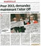 article provence 25 avril 2012 conférence presse du 24  devant la Poste Colbert.